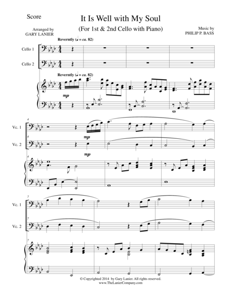 IT IS WELL WITH MY SOUL (Trio - 1st & 2n Cello and Piano with Score and Parts)