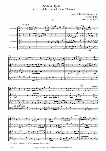 Sonata Op.34-1 for Clarinet Quartet