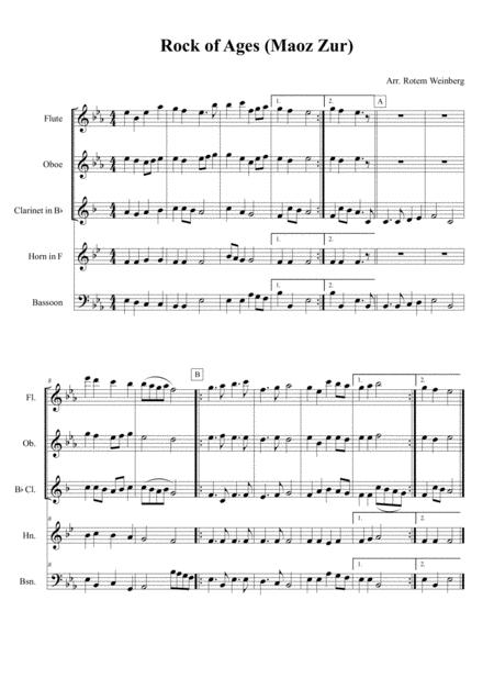 Rock of Ages (Maoz Zur) - Woodwind Quintet