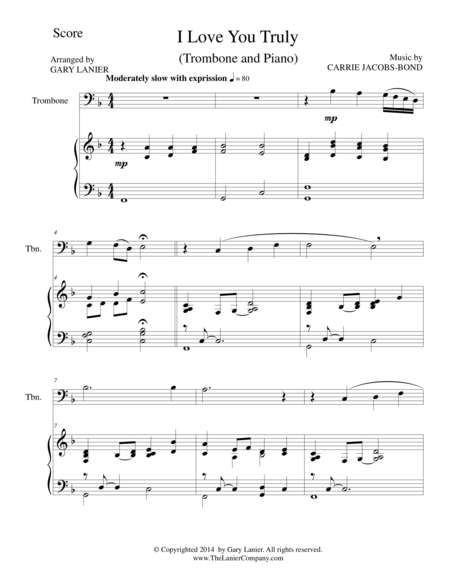 I LOVE YOU TRULY (Duet for Trombone/Piano with Score and Trb Part)