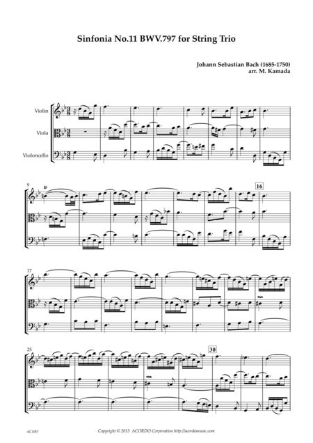 Sinfonia No.11 BWV.797 for String Trio