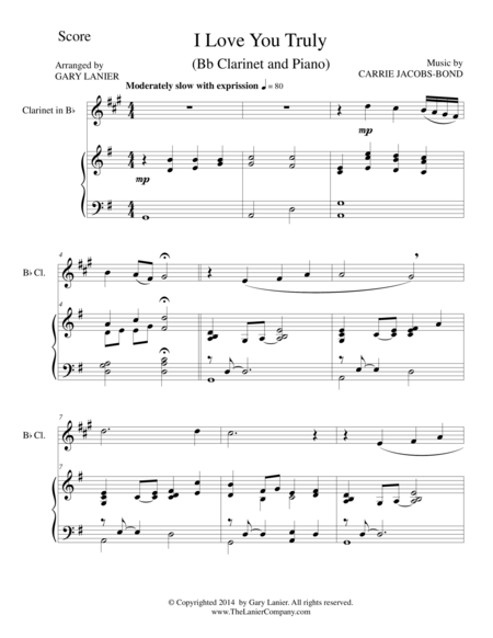 I LOVE YOU TRULY (Duet for Bb Clarinet/Piano with Score and Clar Part)