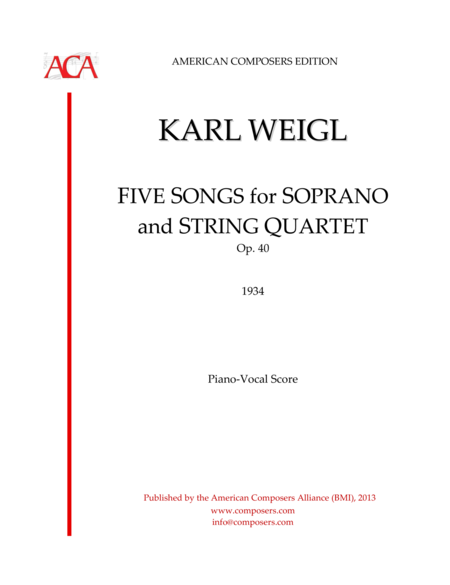 FIVE SONGS for SOPRANO and STRING QUARTET