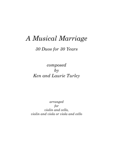 A Musical Marriage Vol. 1  Duos 1 - 15 for violin and cello