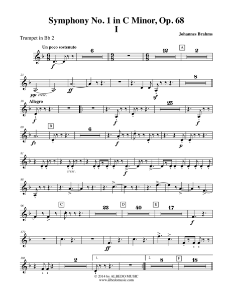 Brahms Symphony No. 1, Movement I - Trumpet in Bb 2 (Transposed Part), Op. 68