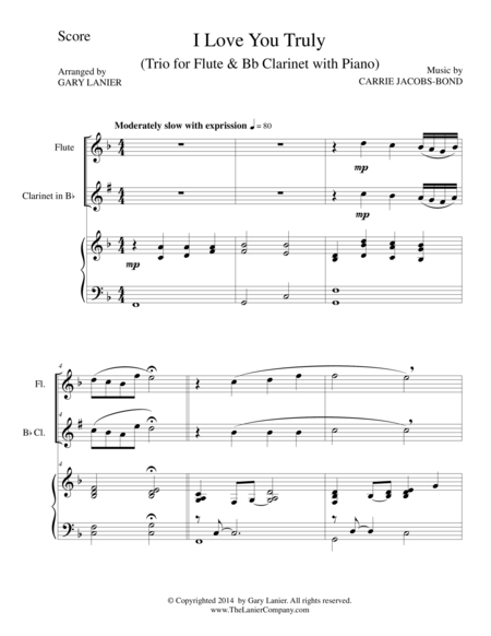 I LOVE YOU TRULY (Trio – Flute, Bb Clarinet, and Piano with Score and Parts)