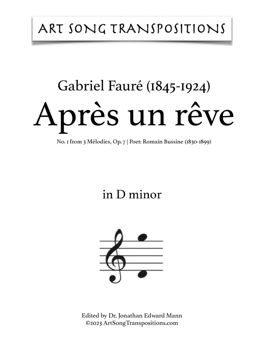 Après un rêve, Op. 7 no. 1 (D minor)