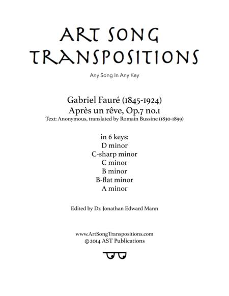 Après un rêve, Op. 7 no. 1 (in 6 keys)