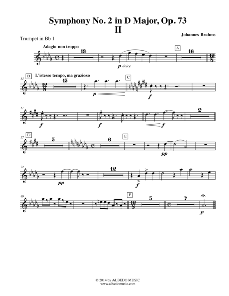 Brahms Symphony No. 2, Movement II - Trumpet in Bb 1 (Transposed Part), Op. 73