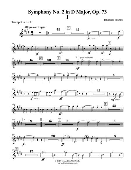 Brahms Symphony No. 2, Movement I - Trumpet in Bb 1 (Transposed Part), Op. 73