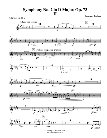 Brahms Symphony No. 2, Movement II - Clarinet in Bb 2 (Transposed Part), Op. 73