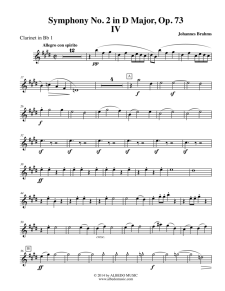 Brahms Symphony No. 2, Movement IV - Clarinet in Bb 1 (Transposed Part), Op. 73