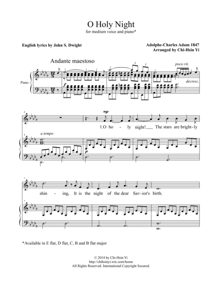 O Holy Night [medium, D flat major]