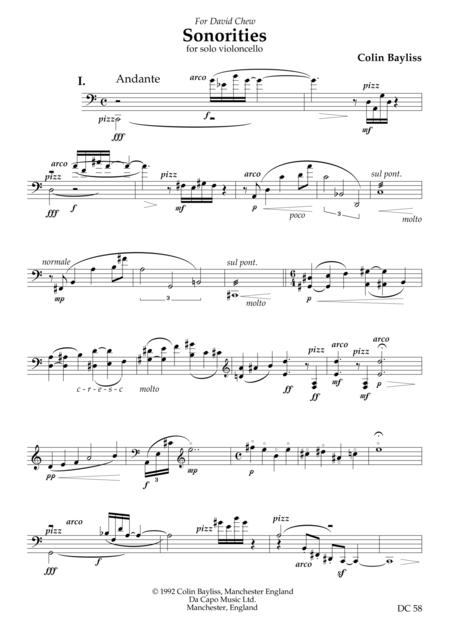 Sonorities - for solo violoncello
