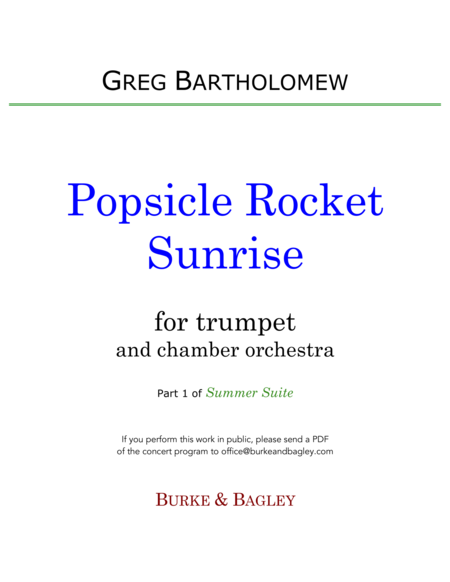 Popsicle Rocket Sunrise (trumpet & chamber orchestra)
