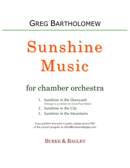 Sunshine Music for chamber orchestra