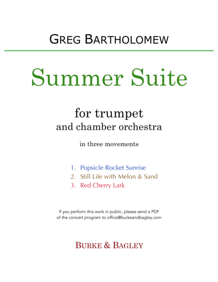 Summer Suite for trumpet & chamber orchestra