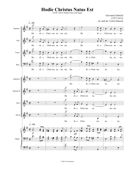 Hodie Christus Natus Est (SATB-SSAA double choir)