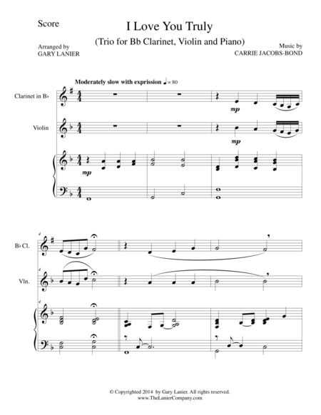 I LOVE YOU TRULY (Trio – Bb Clarinet, Violin, and Piano with Score and Parts)