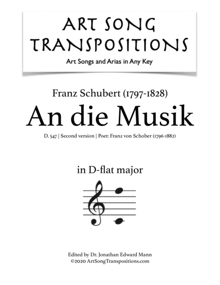 An die Musik, D.547 (D-flat major)