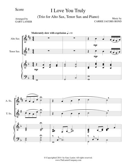I LOVE YOU TRULY (Trio – Alto Sax, Tenor Sax, and Piano with Score and Parts)