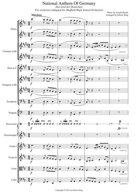 National Anthem of Germany (Suitable for intermediate orchestra, adapted for Sheffield High School Orchestra)
