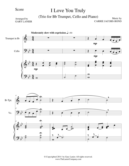 I LOVE YOU TRULY (Trio – Bb Trumpet, Cello, and Piano with Score and Parts)