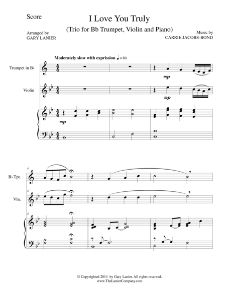 I LOVE YOU TRULY (Trio – Bb Trumpet, Violin, and Piano with Score and Parts)