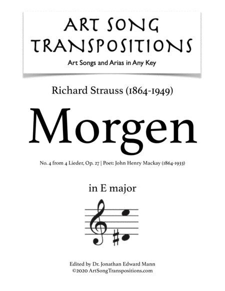 Morgen! Op. 27 no. 4 (E major)