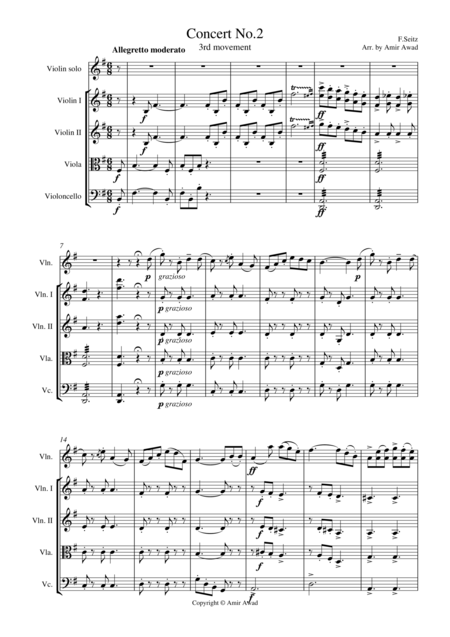 Seitz 3rd movement from  Pupil (Student)  Concerto No.3 in G major for Violin and Piano arranged for Violin and String Orchestra
