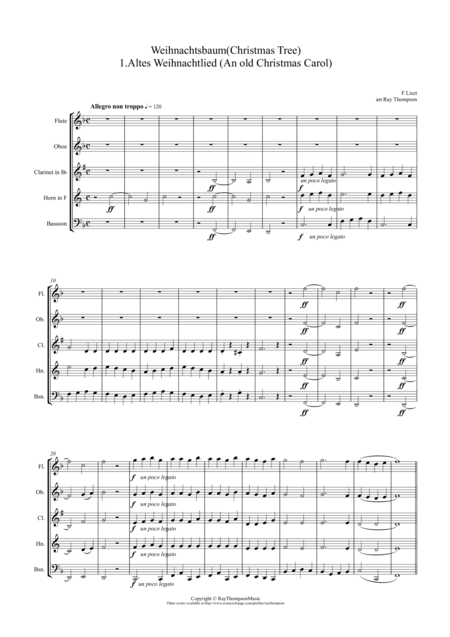 Liszt: Weihnachtsbaum (Christmas Tree) (A selection of six pieces) arr. wind quintet