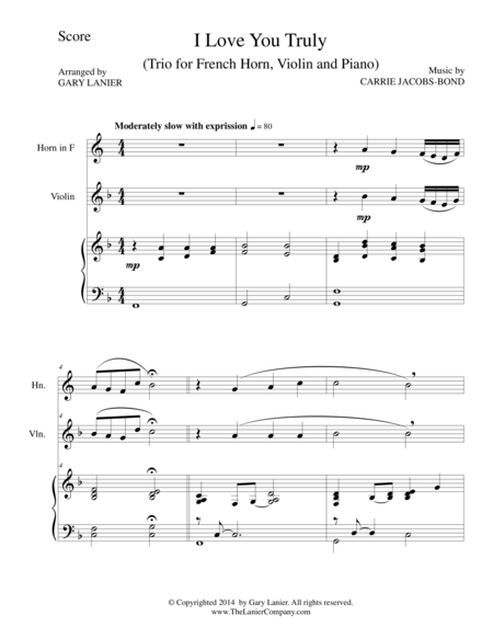 I LOVE YOU TRULY (Trio – French Horn, Violin, and Piano with Score and Parts)