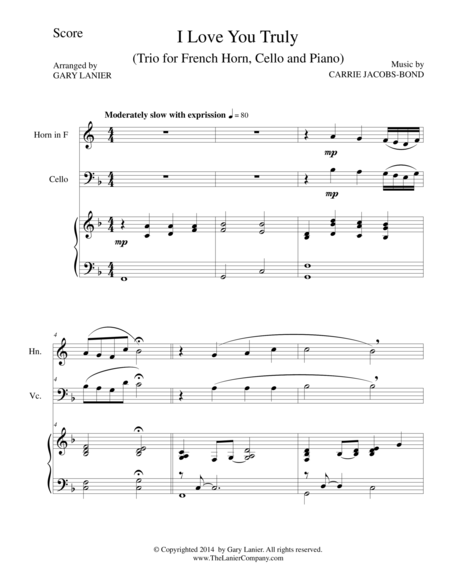 I LOVE YOU TRULY (Trio – French Horn, Cello, and Piano with Score and Parts)