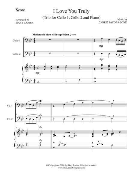 I LOVE YOU TRULY (Trio – Cello 1, Cello 2, and Piano with Score and Parts)