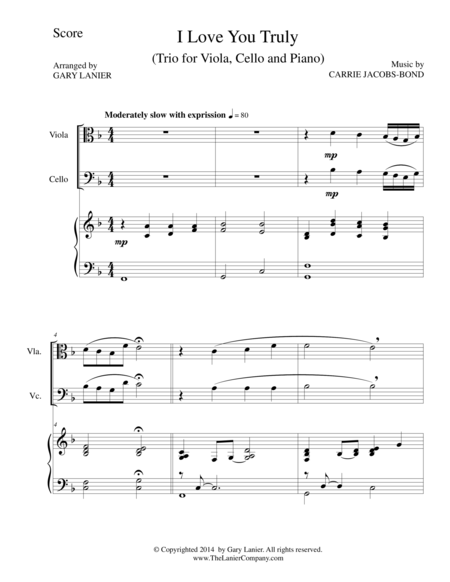 I LOVE YOU TRULY (Trio – Viola, Cello, and Piano with Score and Parts)