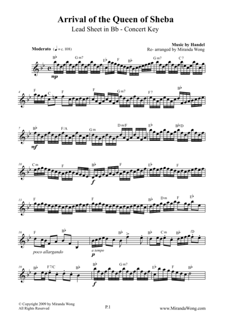 Arrival of Queen of Sheba - Lead Sheet in Bb  (Concert Key)