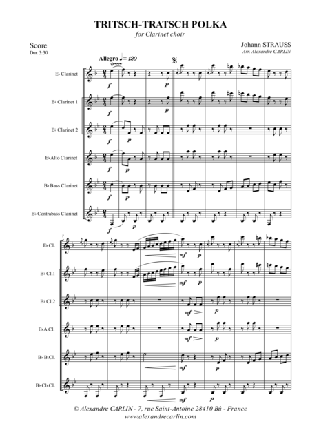 Tritsch-Tratsch Polka, for Clarinet Choir - Score & Parts