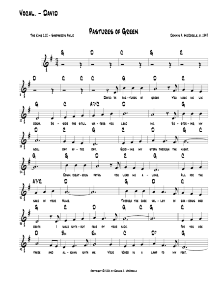 23rd Psalm (Pastures of Green) (David) from