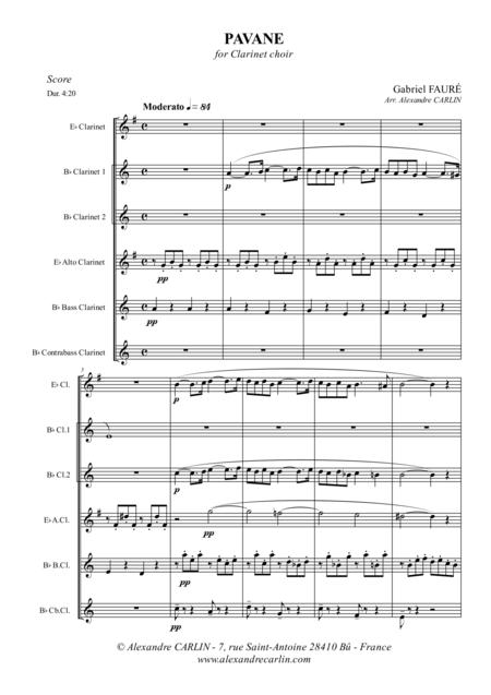 Pavane, for Clarinet Choir - Score & Parts