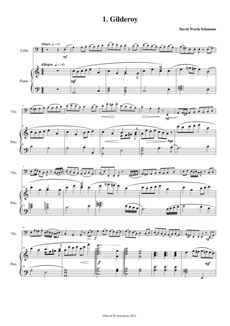 Folk Song Snapshots for Cello and Piano