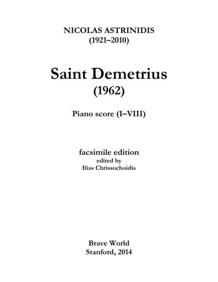 Saint Demetrius (piano score, I-VIII)