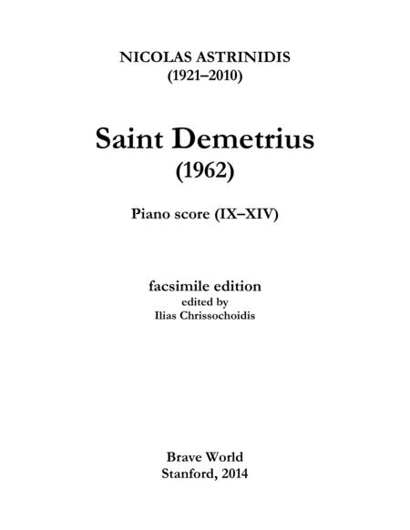 Saint Demetrius (piano score, IX-XIV)