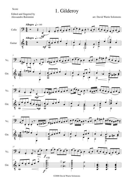 Folk Song Snapshots for Cello and Guitar