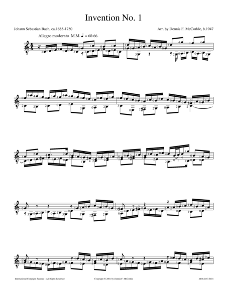Invention No.1 in C Major, BWV 772 for Solo Guitar