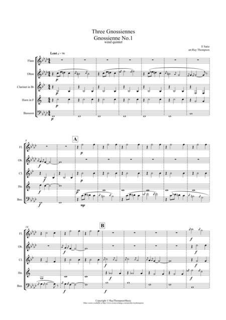 Satie: Trois Gnossiennes (Nos.1,2 & 3) - wind quintet