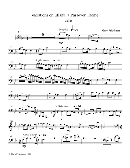 Variations on Eliahu, a Passover Theme (for solo cello and piano)
