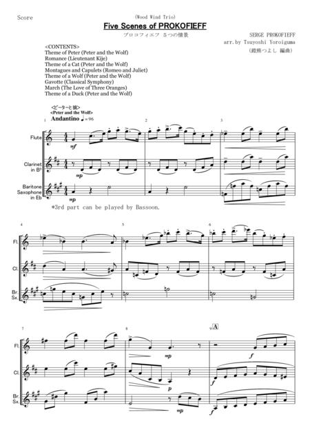 Five Scenes of PROKOFIEFF for woodwind trio