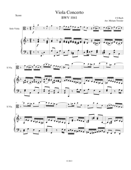Viola Concerto in D Minor