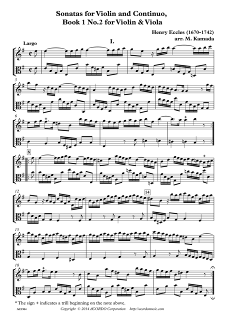 Sonatas for Violin and Continuo, Book 1 No.2 for Violin & Viola
