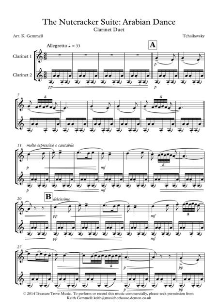 Nutcracker Suite - Arabian Dance: Clarinet Duet
